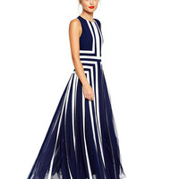 Striped Sleeveless Mesh Pleated Maxi Dress