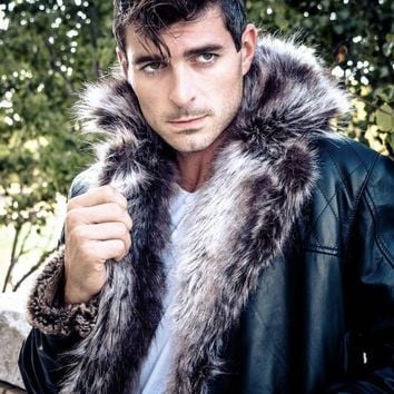 Men's Jayden Shearling Faux Fur Leather Jacket