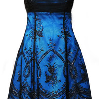 Sparkly Prom Dress / Cocktail Dress / Party Dress in Black and Sky Blue - Size Small