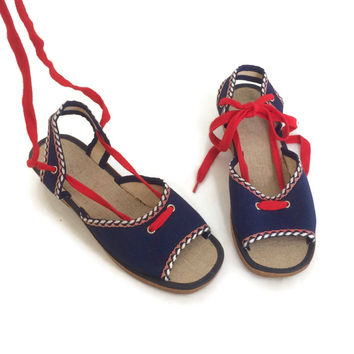 70's Vintage Sandals | Unworn NOS | 1970's Deadstock | French Shoes | Wedge Heel | Summer Beach Shoes | Blue Canvas Shoes With Red Laces