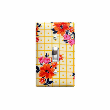 Retro Kitchen Light Switch Plate Cover / Vintage 50s 60s Mexican Oil Cloth Tablecloth Inspired Bakery / Yellow Orange