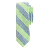 ENGLISH LINEN-COTTON TIE IN SEA GLASS STRIPE