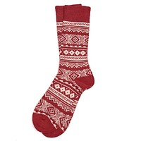 Onso Fairisle Socks in Dark Red by Barbour