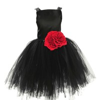 Topwedding Girls Satin and Tulle a Line Flower Dress