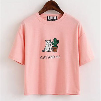 Women T shirt Cotton Crop Top Short Embroidery Cat Cactus Casual T Shirt Short Loose Pink Green Gray ClothesTee Shirt Femme
