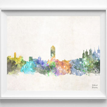 Lyon Skyline, France Watercolor, Poster, French Print, Bedroom, Art, Cityscape, City Painting, Living room, Illustration, Europe [NO 443]
