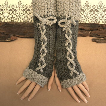 Knitted Fingerless Gloves, Grey Corset Wool Gloves, Arm Warmers, Gothic Gloves, Grey Burlesque Wrist Gloves, Australia