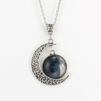 Crescent Moon Necklace With Custom Lunar Phase Charm