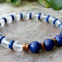 New Men's Designer Bracelet, Lapis Men's Jewelry, Mens Yoga Bracelet, High Quality Lapis, Crystal Quartz, Mala, Grounding Remove Negativity