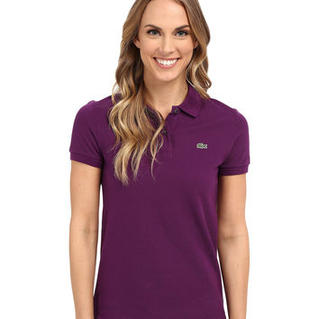 Lacoste Women's Purple Color Short Sleeve Pique Original Fit Polo Shirt
