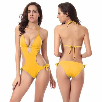 One Piece Bikini Swimwear Yellow/green/black/red