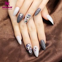Long Stiletto False Nails With Glue Shining Rhinestone Fake Nail Tips 24PCS Women Finger Nail Art