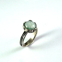 SUMMER SALE - Aquamarine Ring - sterling silver ring - Birthstone Ring - Gemstone Ring - Stacking Ring - Galaxy ring