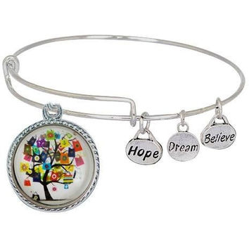 Expandable Bangle Bracelet Chunk Snap Charm Holder Includes Charm