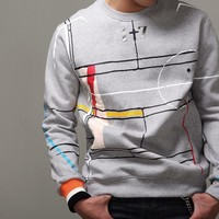 MensG Basketball Court Printed Cotton Star Sweatshirt at Fabrixquare