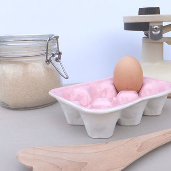 Two tone egg box, egg tray carton crate pink and white egg tray baking kitchenware