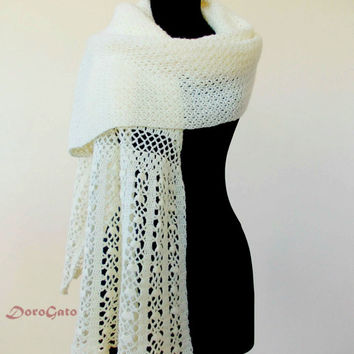 Lace wedding crochet shawl, Cream crochet shawl, Crochet shawl, wraps shawls, crochet stole, Handmade shawl, Lace shawl, crochet wrap shawls