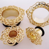 Gold Filigree Plugs (2 gauge - 1 inch)