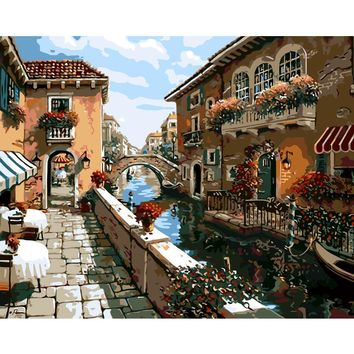 DIY PBN Arcylic Painting Venice City Pictures By Numbers On Canvas Framed Wall Pictures Art For Living Room Home Decoration