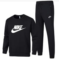 NIKE 2018 autumn and winter new men's plus hooded round neck cardigan sports running two-piece Black