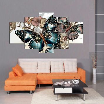 Framed Printed Abstract floral butterfly Painting on canvas room decoration print poster picture canvas Free shipping F/1400