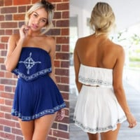 Fashion simple geometric printed strapless two-piece outfit