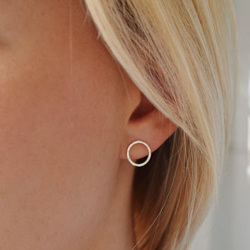 Circle Stud Earrings - Hammered Circle Stud Earrings - Small Stud Earrings - UK Handmade