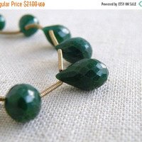 49% Off Sale Emerald Briolette Gemstone Faceted Teardrop Briolette 11.5 to 12.5mm 3 beads