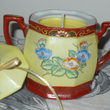 Antique Floral Sugar Bowl Soy Candle Handpainted