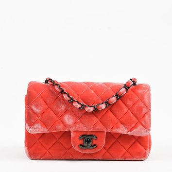 "Chanel Coral Pink Velvet Quilted ""Classic New Mini"" Bag"