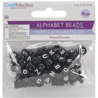 Multicraft Imports BD104-C Alphabet Beads 7 mm. Black With White Letters - Walmart.com