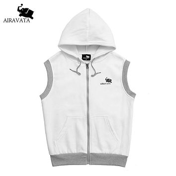 Men's Sleeveless Hoodie and Sweatshirt New Fashion Elastic Zip-up Off White Joggers Clothing Cotton Polyester