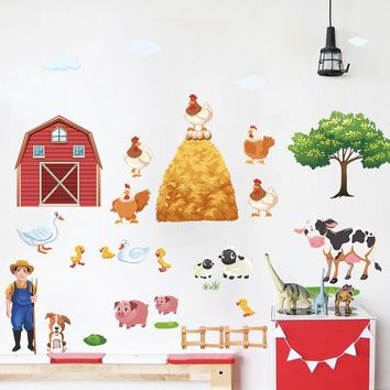 Cartoon Farm Animals Wall Stickers For Living Room