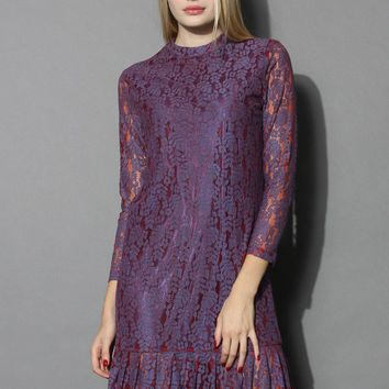 Purplish Lace Dress with Ruffled Hem
