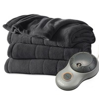 Sunbeam Heated Electric Blanket Channeled Microplush Full Size Slate Grey