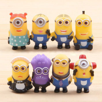 8PCS Despicable Me 2 Minions action Figure toy Sets 2015 kids children PVC Christmas Gifts 3D eye mini cartoon Anime Minion toys