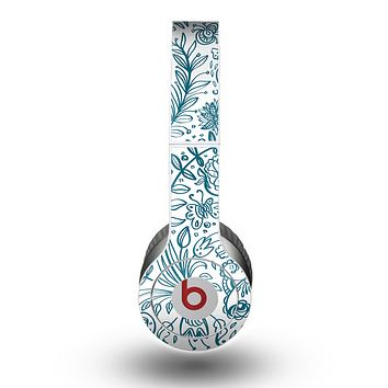 The Subtle Blue Sketched Lace Pattern V21 Skin for the Beats by Dre Original Solo-Solo HD Headphones