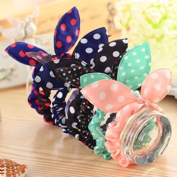 10PCS/lot Fashion Girls Hair Band Mix Styles Polka Dot Bowknot Rabbit Ears Elastic Hair Ropes Ponytail Holder for Woman Headwear