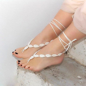 Crochet barefoot sandals cream foot decoration nude by Lasunka