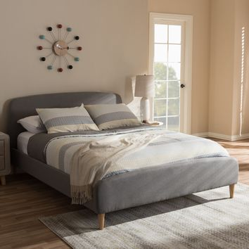 Baxton Studio Mia Mid-Century Light Grey Fabric Upholstered Queen Size Platform Bed Set of 1