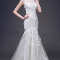 Mermaid Long Wedding Dress Illusion Neckline Gown