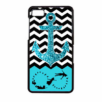 Peter Pan Mint Glitter Anchor Black Chevron BlackBerry Z10 Case