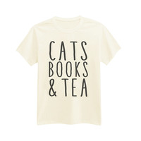 543 - Cats Books & Tea - Perfect Day - Printed T-Shirt - by HeartOnMyFingers