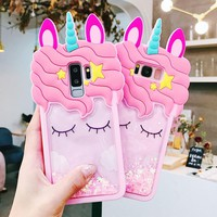 For samsung galaxy s9 /s9plus /s8 plus /note 8 Unicorn case 3D Liquid cover Sam S7edge J330 J530 J730 silicone cover shockproof