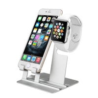 Aluminum Charging Charger Dock Station Holder Stand For Apple Watch For iPhone NEW Free Shipping