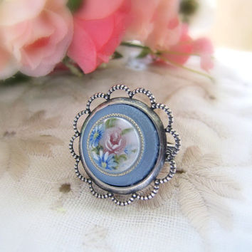 Pastel Blue Vintage Roses Cameo Antique Silver Adjustable Ring