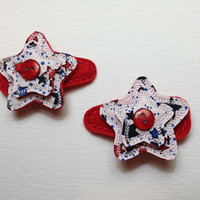 Star Felt and Fabric red white and blue hair snap barrette clips for girls set of 2