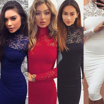 VONEL7C Turtleneck Long Sleeve Lace Midi Sexy Club Bandage Bodycon Dress 2016 Autumn White Red Black Elastic Elegant Party Dresses