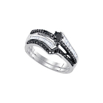 Sterling Silver Womens Round Black Colored Diamond Bridal Wedding Engagement Ring Band Set 5/8 Cttw 83512