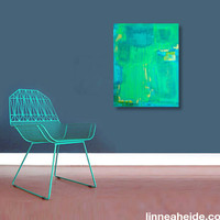blue green acrylic abstract painting - acrylic on canvas - abstract expressionism - green blue - water - modern art